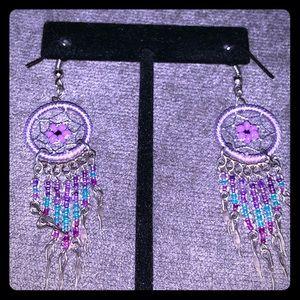 Dream catcher hanging earrings